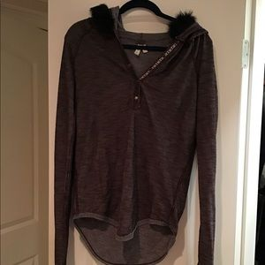 Free People Henley with fur lined hoodie